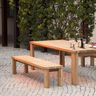 """Barlow Tyrie Titan Teak 79"""" Rustic Backless Bench  by Barlow Tyrie"""