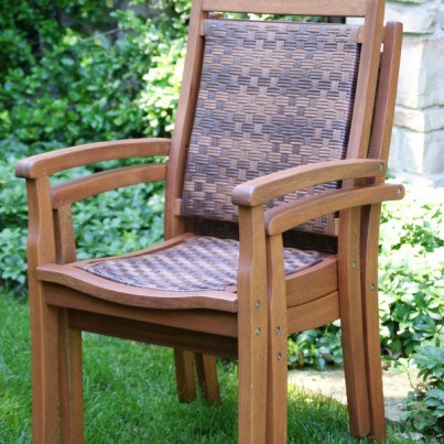 Outdoor Interiors Eucalyptus and Resin Wicker Stacking Arm Chair   by Outdoor Interiors