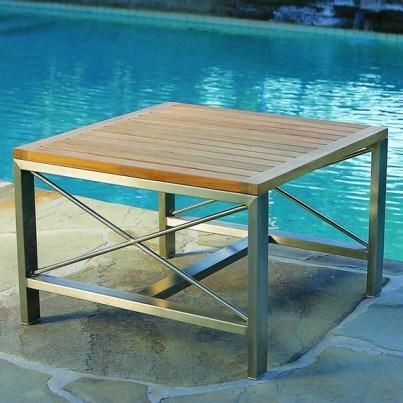 Kingsley Bate Ibiza Stainless Steel and Teak Trim Side Table  by Kingsley Bate