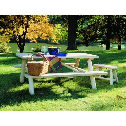 Rustic Natural Cedar Log Picnic Table  by Rustic Natural Cedar