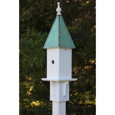 Heartwood Songbird Station - White Cellular PVC/Verdigris Copper Roof Birdhouse  by Heartwood