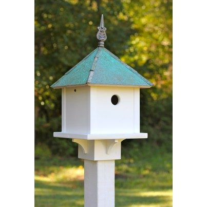 Heartwood Skybox - White Cellular PVC/Verdigris Copper Roof Birdhouse  by Heartwood