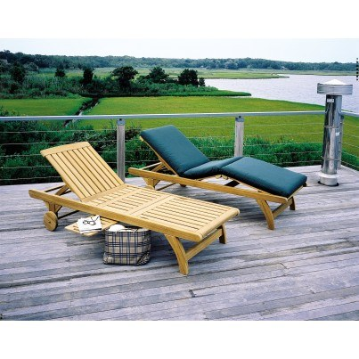 Kingsley Bate Classic Teak Adjustable Knee-Bend Chaise Lounge w/Wheels  by Kingsley Bate
