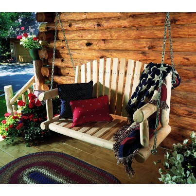 Rustic Natural Cedar Porch Swing  by Rustic Natural Cedar