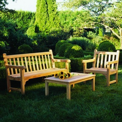 Kingsley Bate St. George Teak 4 Piece Bench and Garden Chair Ensemble  by Kingsley Bate