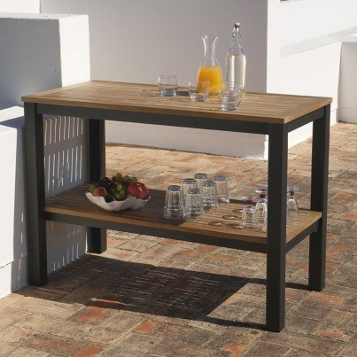 Barlow Tyrie Aura Teak and Aluminum Serving Table  by Barlow Tyrie