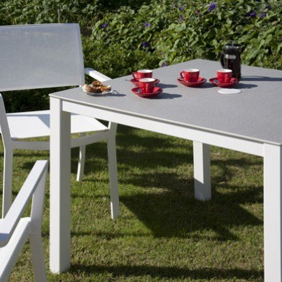 Barlow Tyrie Cayman Aluminum and Ceramic Square Dining Table  by Barlow Tyrie