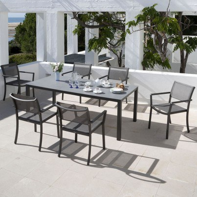 Barlow Tyrie Cayman Aluminum and Ceramic Rectangular Dining Table  by Barlow Tyrie