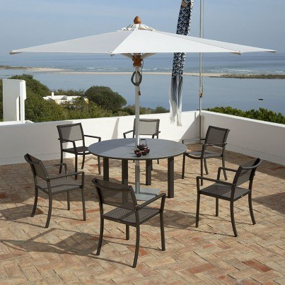Barlow Tyrie Cayman Aluminum and Ceramic Round Dining Table  by Barlow Tyrie