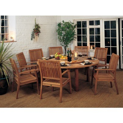 Barlow Tyrie Drummond and Monaco Teak 10pc Dining Ensemble  by Barlow Tyrie