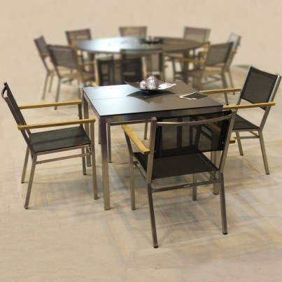 Barlow Tyrie Equinox Stainless Steel and High Pressure Laminate Square Table   by Barlow Tyrie