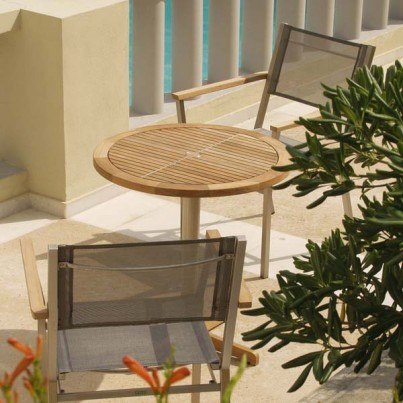 Barlow Tyrie Equinox Round Stainless Steel and Teak Bistro Table - 1 Quick Ship  by Barlow Tyrie