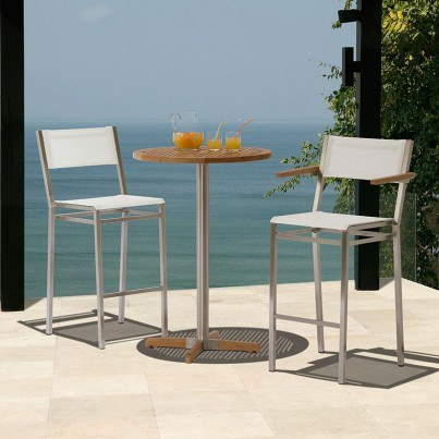 Barlow Tyrie Equinox Stainless Steel and Teak Bar Table  by Barlow Tyrie