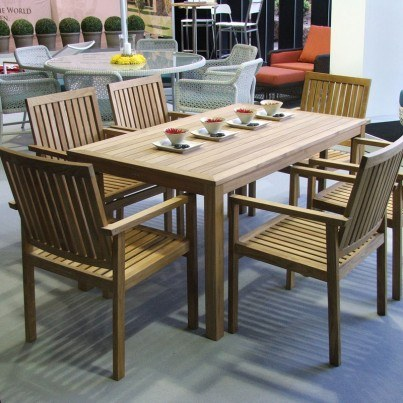 Barlow Tyrie Linear Teak 7pc Dining Ensemble  by Barlow Tyrie