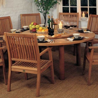 """Barlow Tyrie Drummond Teak 43"""" Lazy Susan for 73""""  Dining Table  by Barlow Tyrie"""