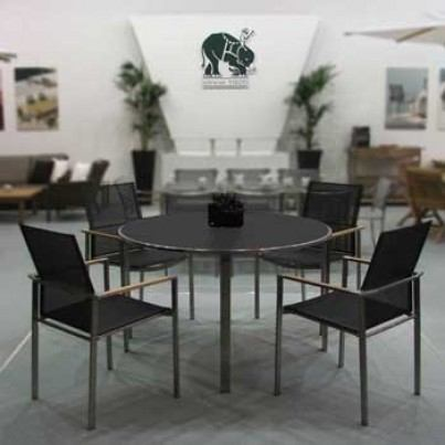 Barlow Tyrie Mercury Stainless Steel Round Dining Table with Glass top  by Barlow Tyrie