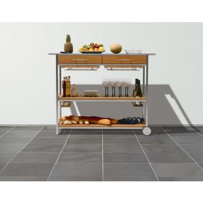 Barlow Tyrie Mercury Stainless Steel and Teak Serving Cart  by Barlow Tyrie