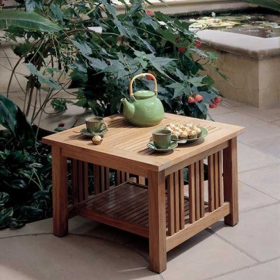"""Barlow Tyrie Mission Teak 23"""" Square Side Table  by Barlow Tyrie"""