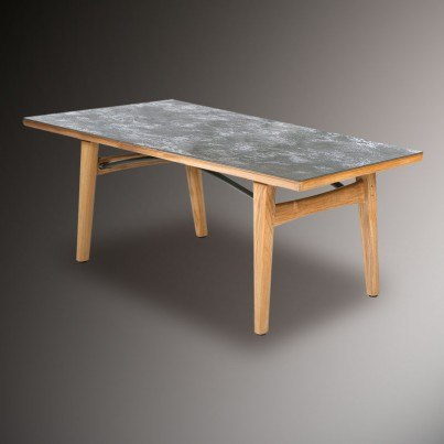 "Barlow Tyrie Monterey Teak and Ceramic 79"" Rectangular Top Dining Table  by Barlow Tyrie"
