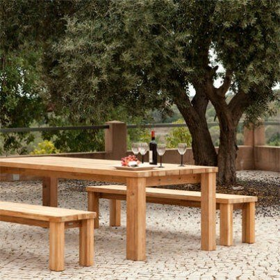Barlow Tyrie Titan Teak 3pc Dining Ensemble with Benches  by Barlow Tyrie