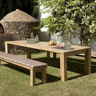Barlow Tyrie Titan Teak Large 3pc Table and Bench Dining Ensemble  by Barlow Tyrie