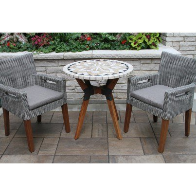 Outdoor Interiors Eucalyptus and Wicker Dining Armchair  by Outdoor Interiors