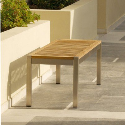 Barlow Tyrie Equinox Stainless Steel and Teak Trimmed Backless Bench, 135 cm  by Barlow Tyrie