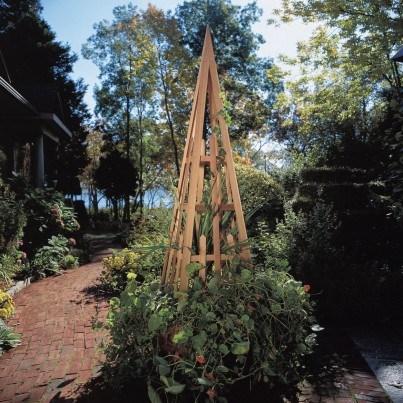 Rustic Natural Cedar Pyramid Trellis  by Rustic Natural Cedar