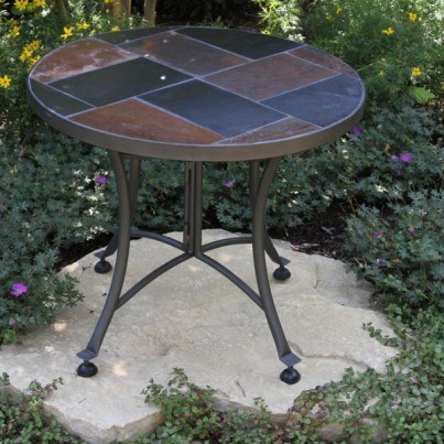 "Slate Mosaic Accent Table 24"" Rd.  by Outdoor Interiors"