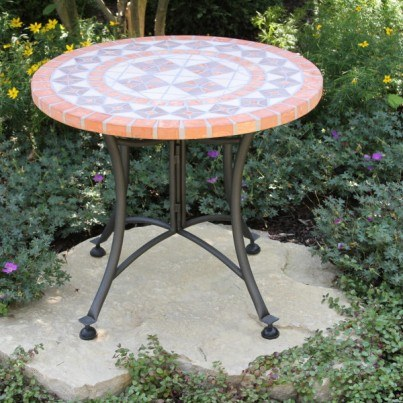 "Terra Cotta Mosaic Accent Table 24"" Rd.  by Outdoor Interiors"