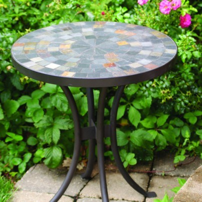 "Slate Mosaic Accent Table 18"" Rd.  by Outdoor Interiors"