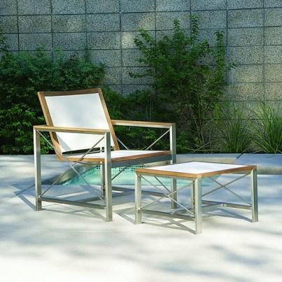 Kingsley Bate Ibiza Stainless Steel and Teak Trim Club Chair  by Kingsley Bate