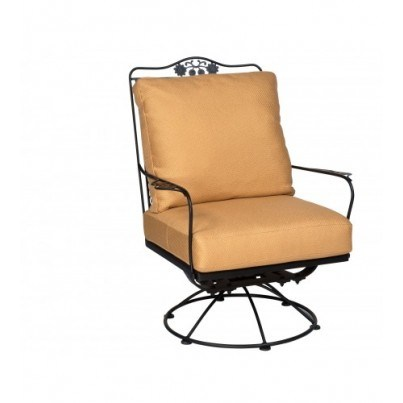 Woodard Briarwood Wrought Iron Swivel Rocking Lounge Chair  by Woodard