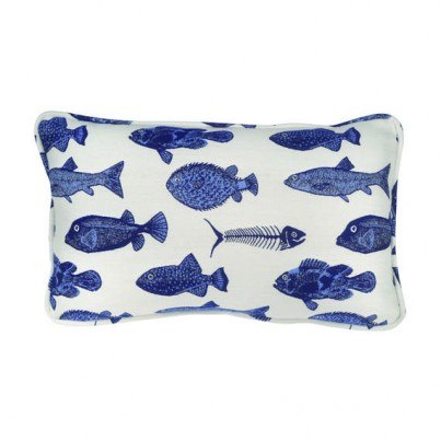 Lumbar Pillow shown with Fishbones Fabric