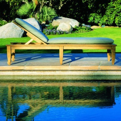Kingsley Bate Amalfi Teak Poolside Chaise Lounge w/Wheels (sold in quantities of two or more)  by Kingsley Bate