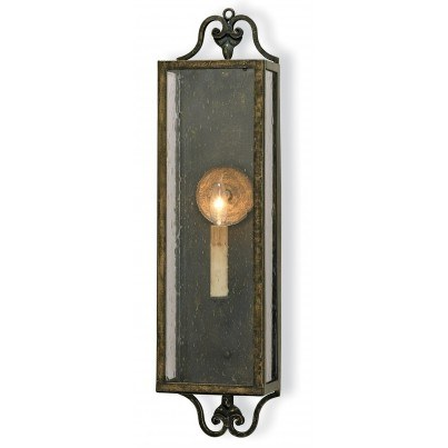 Currey & Company Wolverton Wrought Iron/Glass Wall Sconce  by Currey & Company