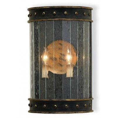 Currey & Company Wharton Wrought Iron/Glass Wall Sconce  by Currey & Company