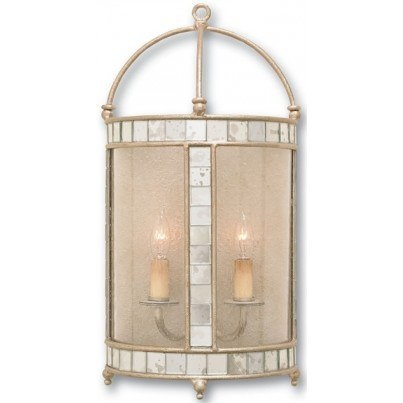 Currey & Company Corsica Wrought Iron/Glass/Mirror Wall Sconce   by Currey & Company
