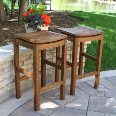 Outdoor Interiors Eucalyptus Backless Pub Stool 2PK  by Outdoor Interiors