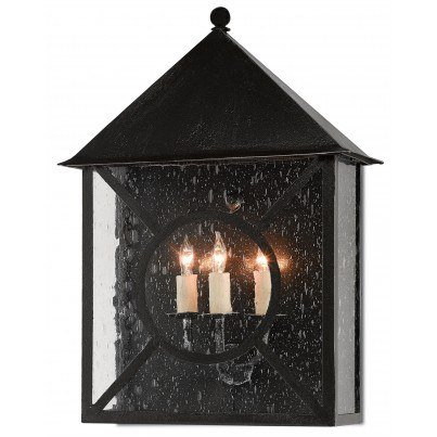 Currey & Company Twelfth Street Lighting Ripley Outdoor 3-light Wrought Iron/Seeded Glass Wall Sconce - Midnight  by Currey & Company