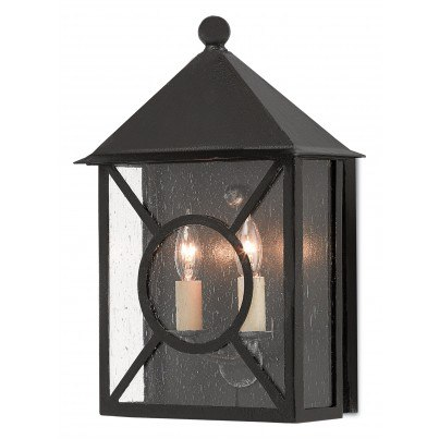 Currey & Company Twelfth Street Lighting Ripley Outdoor 2-light Wrought Iron/Seeded Glass Wall Sconce - Midnight  by Currey & Company