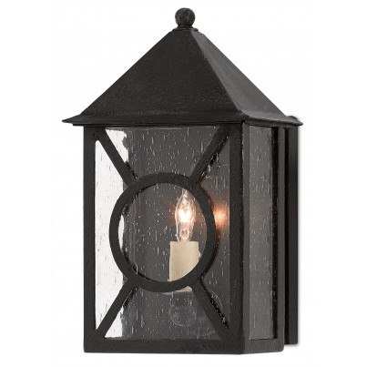 Currey & Company Twelfth Street Lighting Ripley Outdoor 1-light Wrought Iron/Seeded Glass Wall Sconce - Midnight  by Currey & Company
