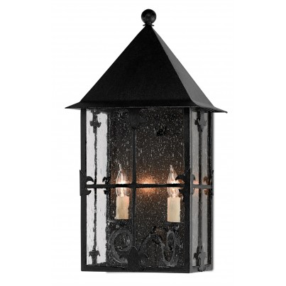Currey & Company Twelfth Street Lighting Faracy Outdoor 2-light Wrought Iron/Seeded Glass Wall Sconce - Midnight  by Currey & Company