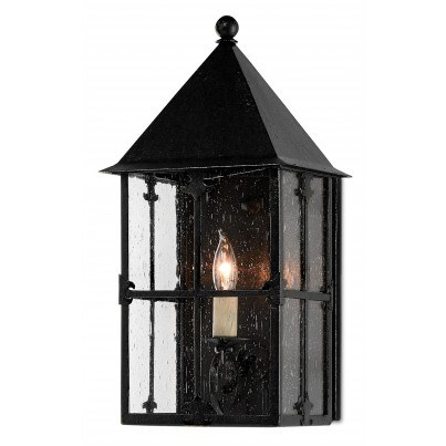Currey & Company Twelfth Street Lighting Faracy Outdoor 1-light Wrought Iron/Seeded Glass Wall Sconce - Midnight  by Currey & Company