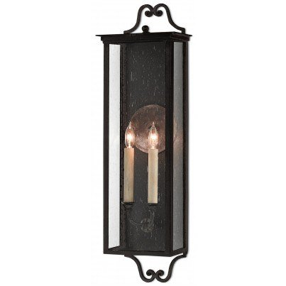 Currey & Company Twelfth Street Lighting Giatti Outdoor 2-light Wrought Iron/Seeded Glass Wall Sconce - Midnight  by Currey & Company