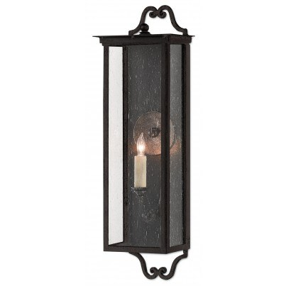 Currey & Company Twelfth Street Lighting Giatti Outdoor 1-light Wrought Iron/Seeded Glass Wall Sconce - Midnight  by Currey & Company