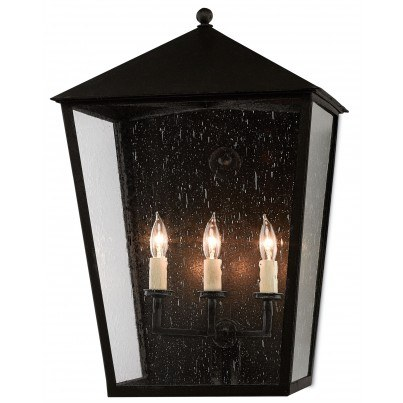 Currey & Company Twelfth Street Lighting Bening Outdoor 3-light Wrought Iron/Seeded Glass Wall Sconce - Midnight  by Currey & Company