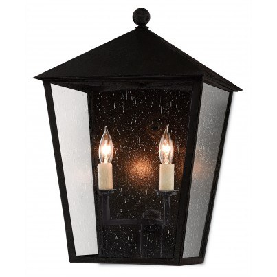 Currey & Company Twelfth Street Lighting Bening Outdoor 2-light Wrought Iron/Seeded Glass Wall Sconce - Midnight  by Currey & Company