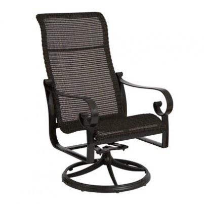 Woodard Belden Aluminum Sling Round Weave High-Back Swivel Rocker Dining Armchair  by Woodard