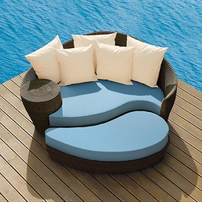 Barlow Tyrie Dune Wicker Daybed And Ottoman  by Barlow Tyrie